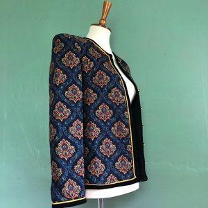 Jackets & Blazers - Vintage quilted deep blue paisley print blazer